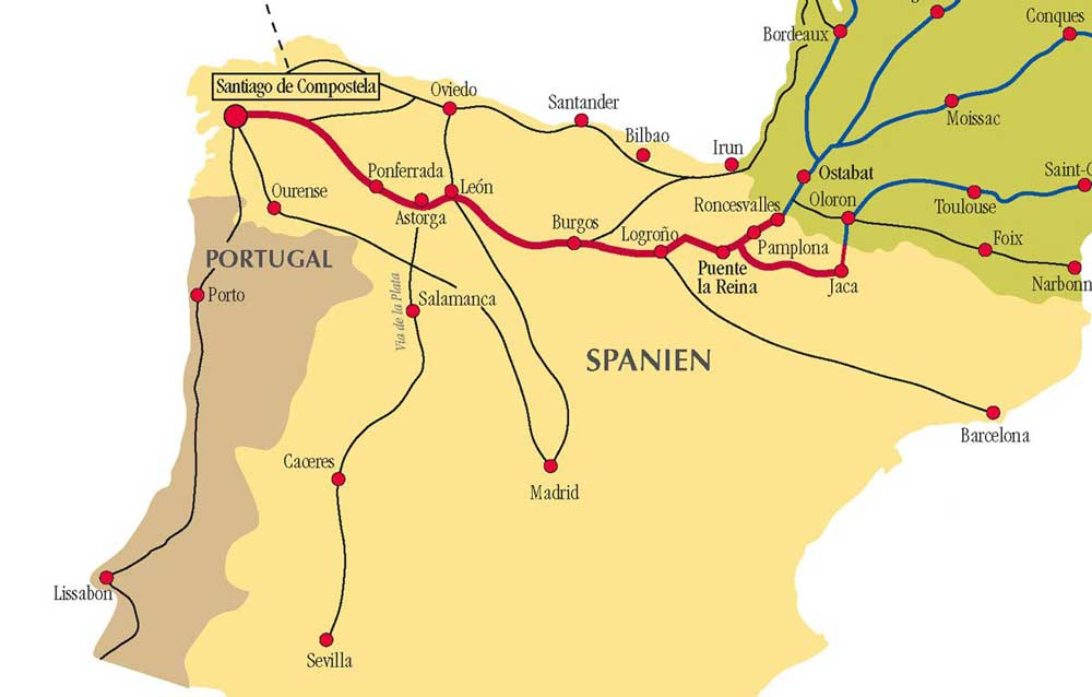 Camino de Santiago Map of the Main Routes
